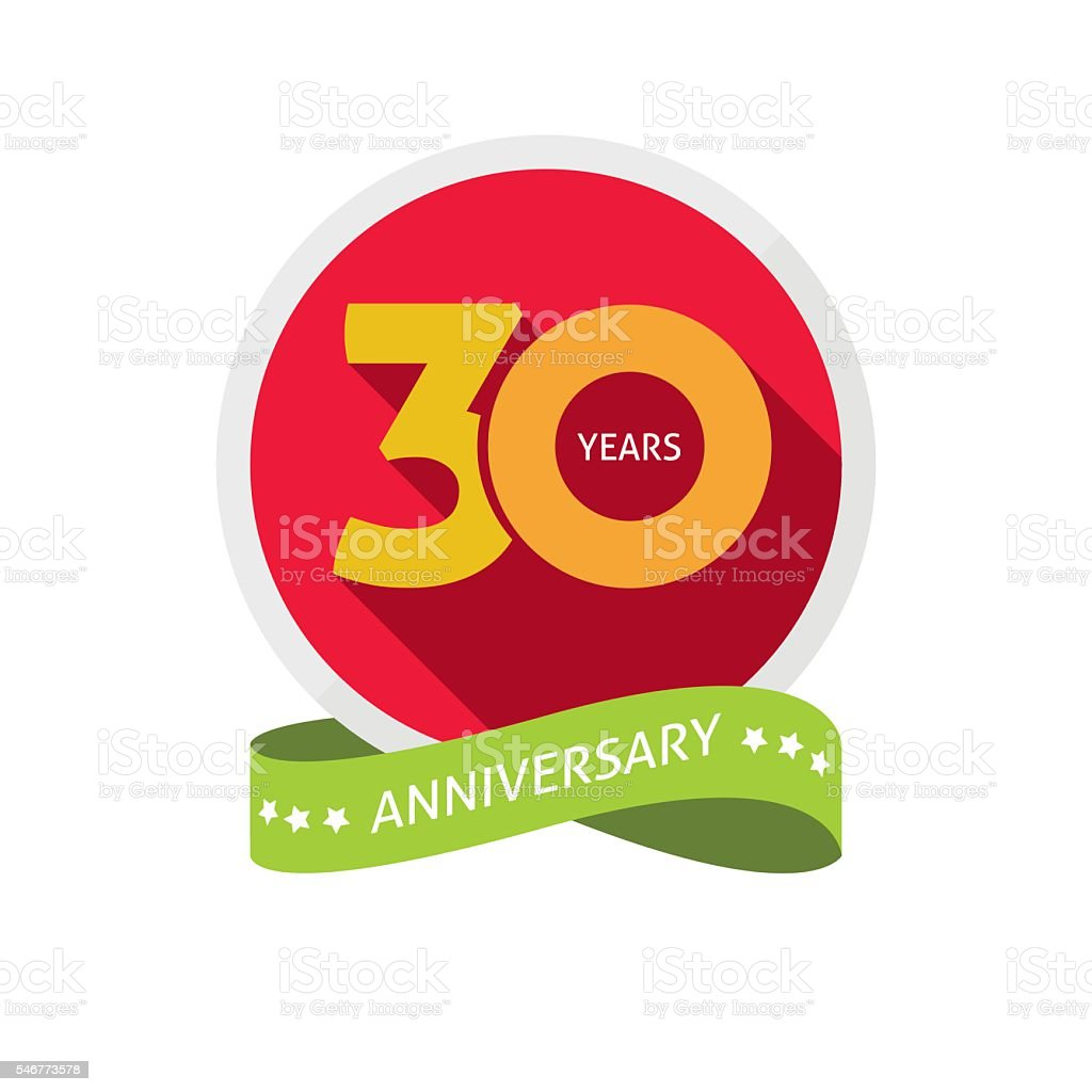 Thirty years anniversary logo, 30 year birthday sticker label vector art illustration