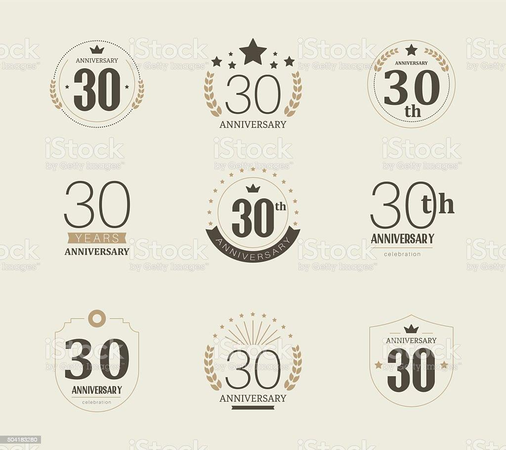 30 Year Anniversary Symbol: Thirty Years Anniversary Logo 30th Anniversary Vintage