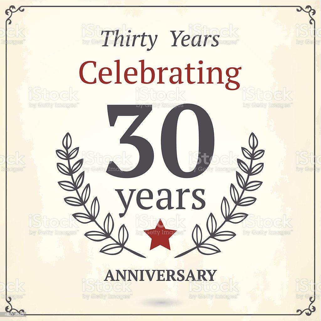 Thirty years anniversary sign royalty-free stock vector art
