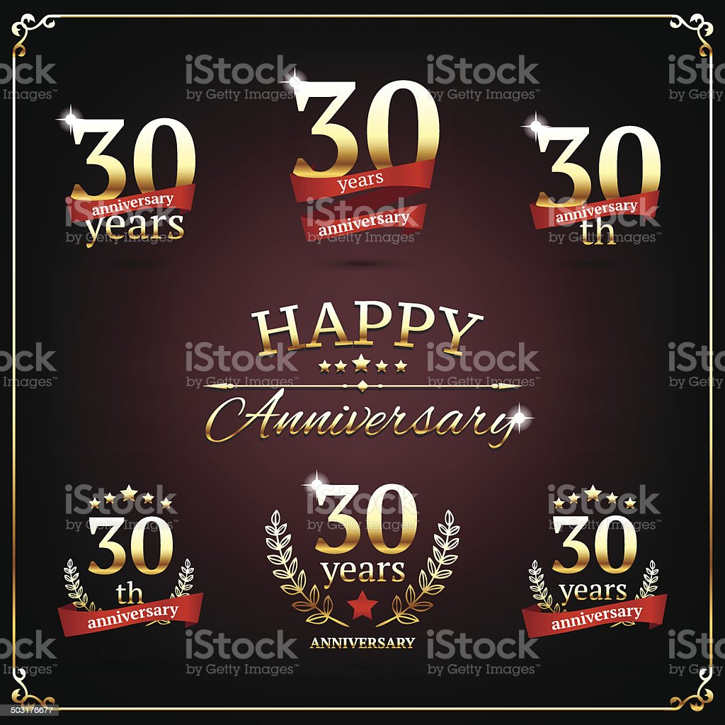 Thirty years anniversary signs collection royalty-free stock vector art