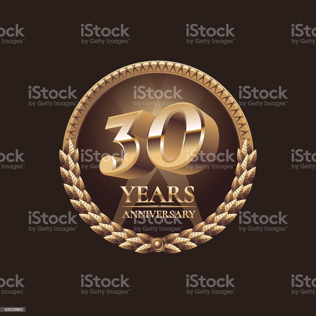 Thirty years anniversary vector icon. 30th celebration design vector art illustration