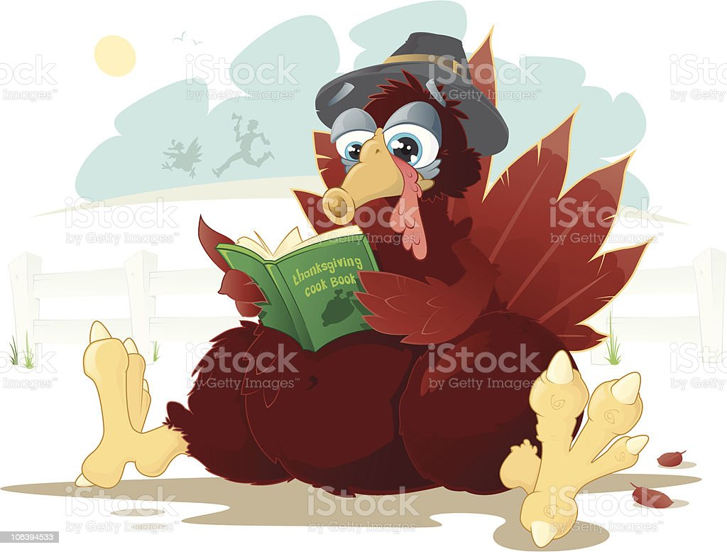 This Pilgrim Turkey is a little worried. royalty-free stock vector art