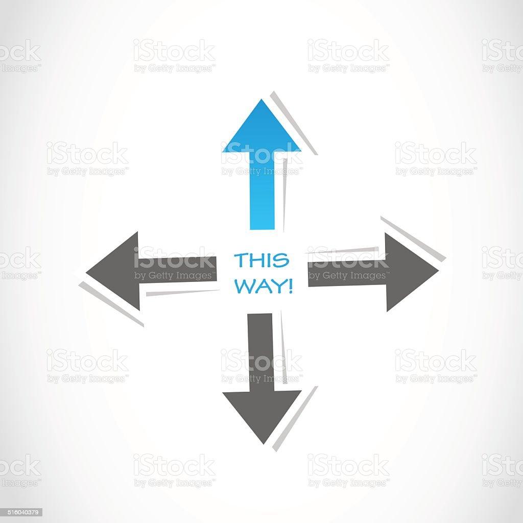 this way arrow business success vector art illustration