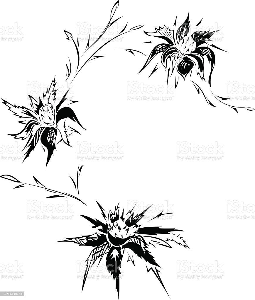 Thistle tattoo design vector art illustration