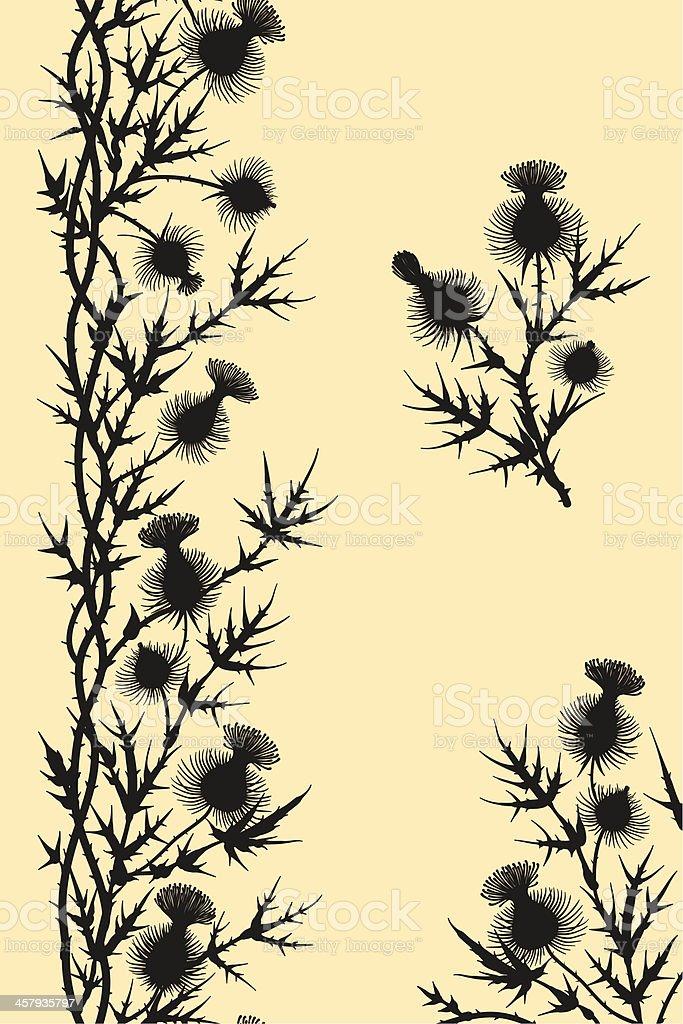 Thistle. Vertical Seamless Pattern. Corner. Branch. Clip Art. vector art illustration