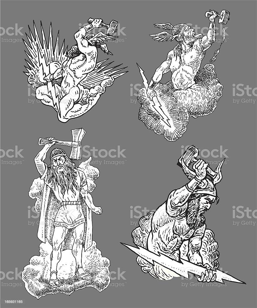 Thor - God of Thunder vector art illustration