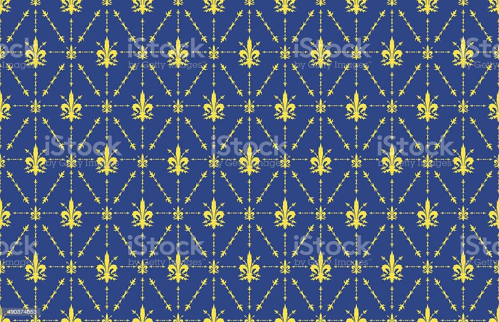 pineux fleur de lys bleu et or fond de papier peint stock vecteur libres de droits 490374653. Black Bedroom Furniture Sets. Home Design Ideas