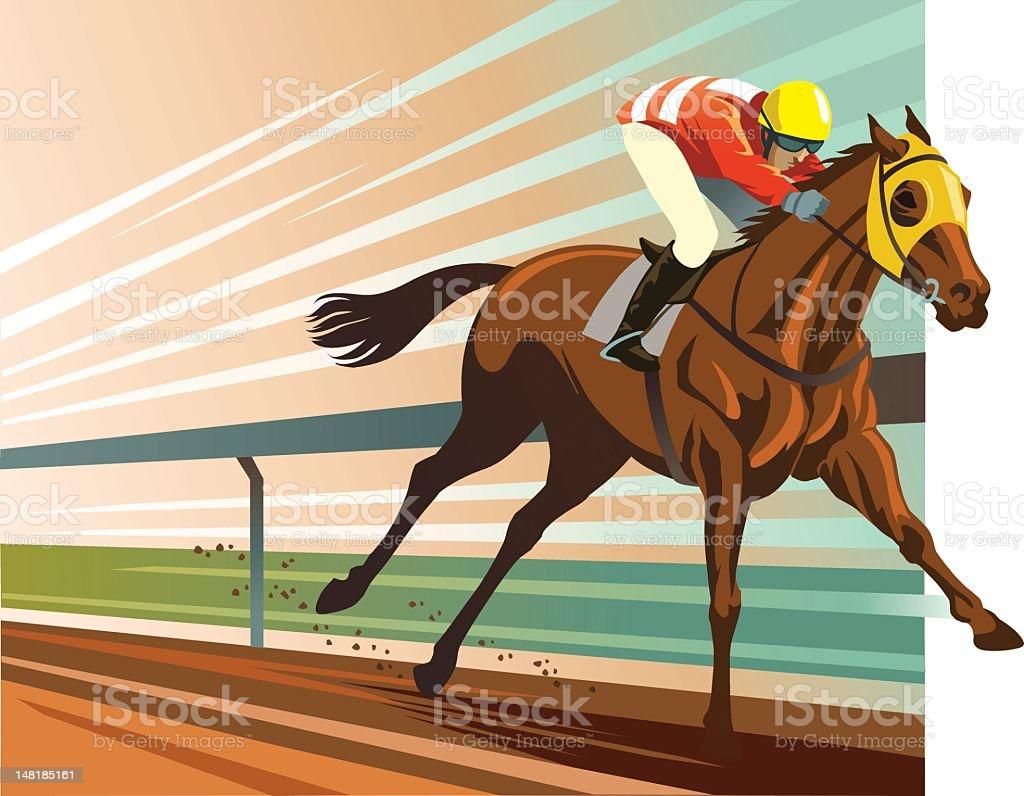 Thoroughbred Horse Racing vector art illustration