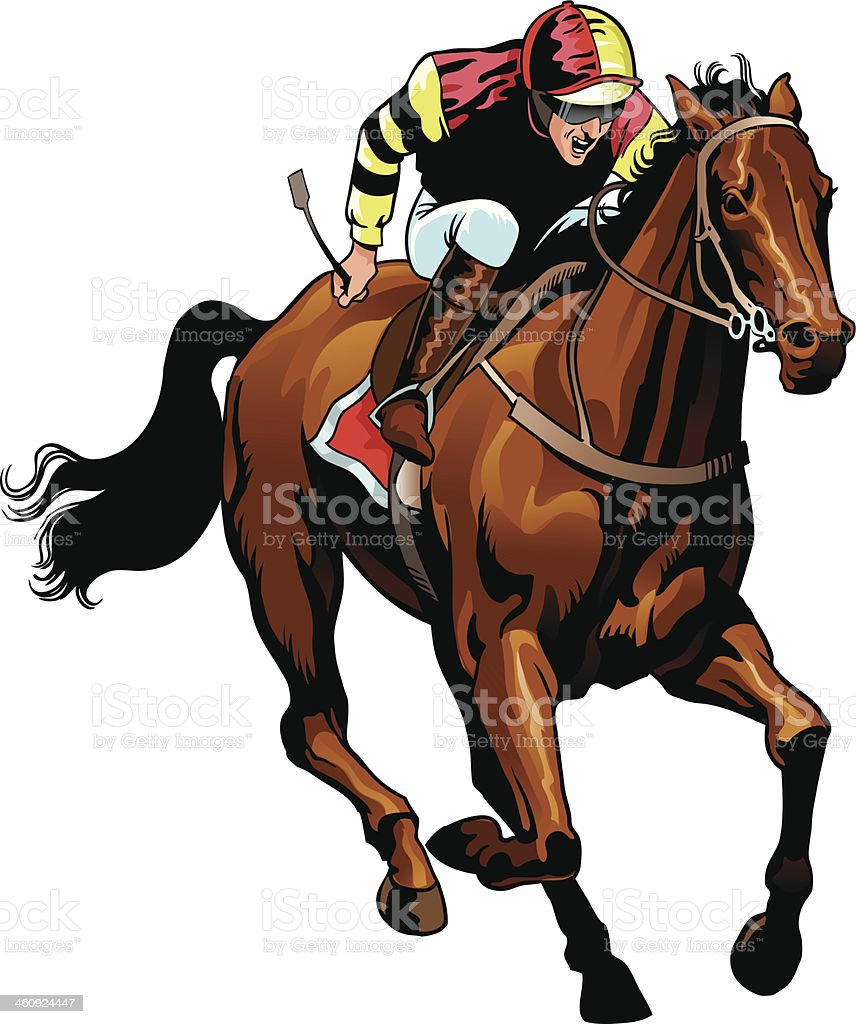 Thoroughbred Horse Racing vector art illustration