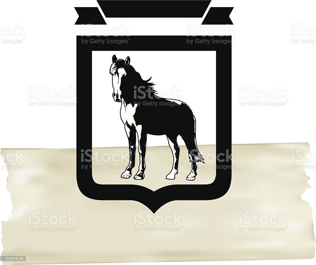 thoroughbred horse with shield and paper banner royalty-free stock vector art