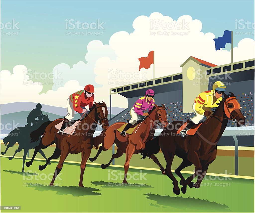 Thoroughbred Horses Racing to the Finish Line vector art illustration