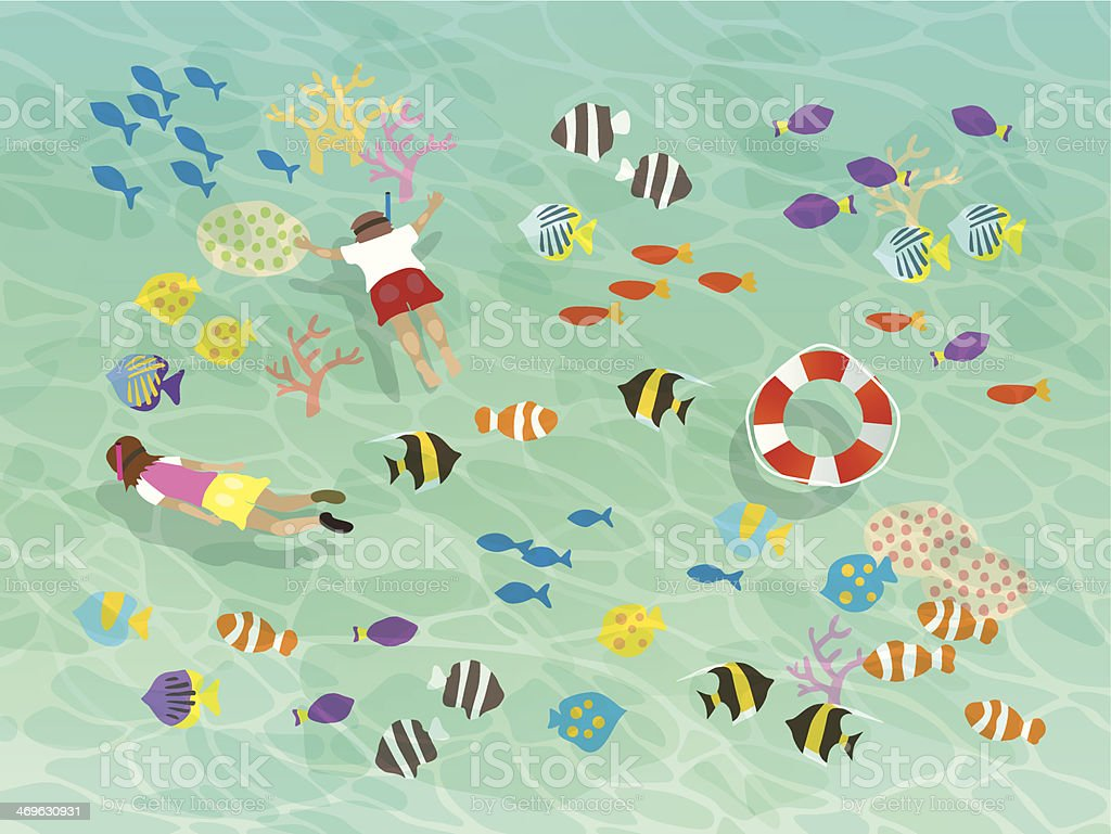 Those who swim in the blue sea vector art illustration