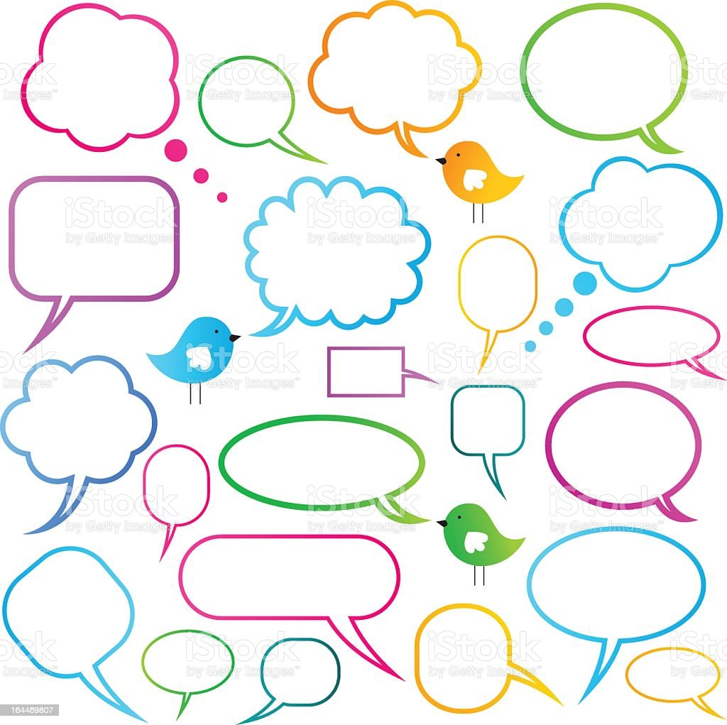 Thought and speech bubbles in many different colors vector art illustration
