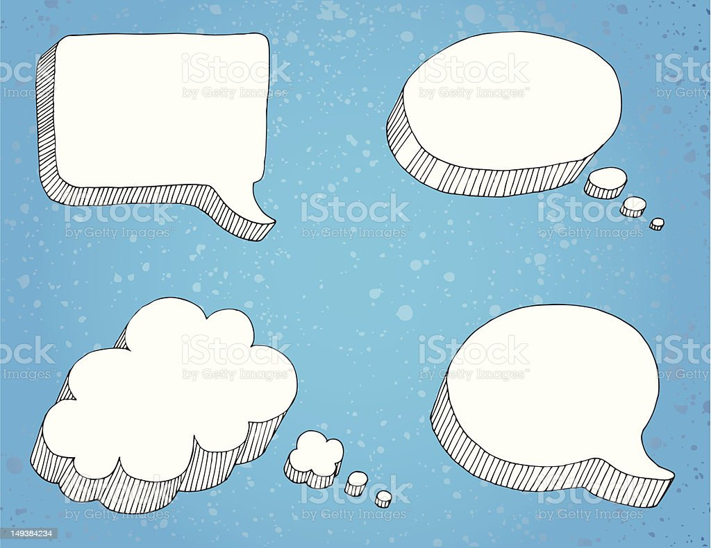 Thought and Speech Bubbles vector art illustration