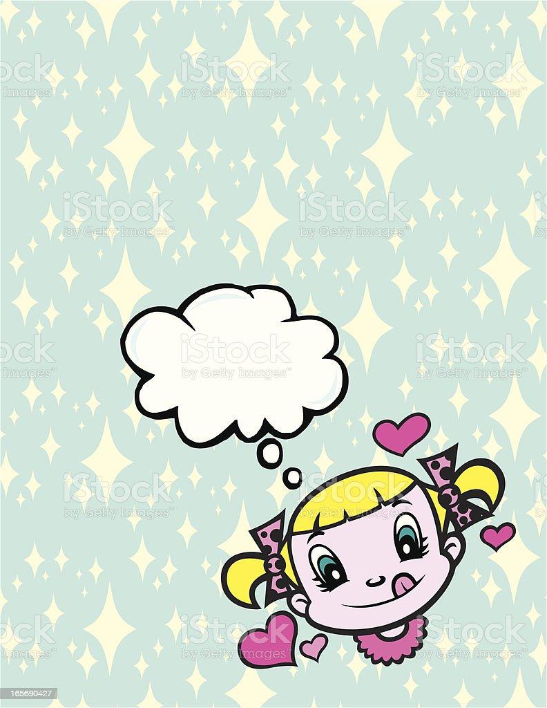 Thought Bubble Background - Loving Little Girl vector art illustration