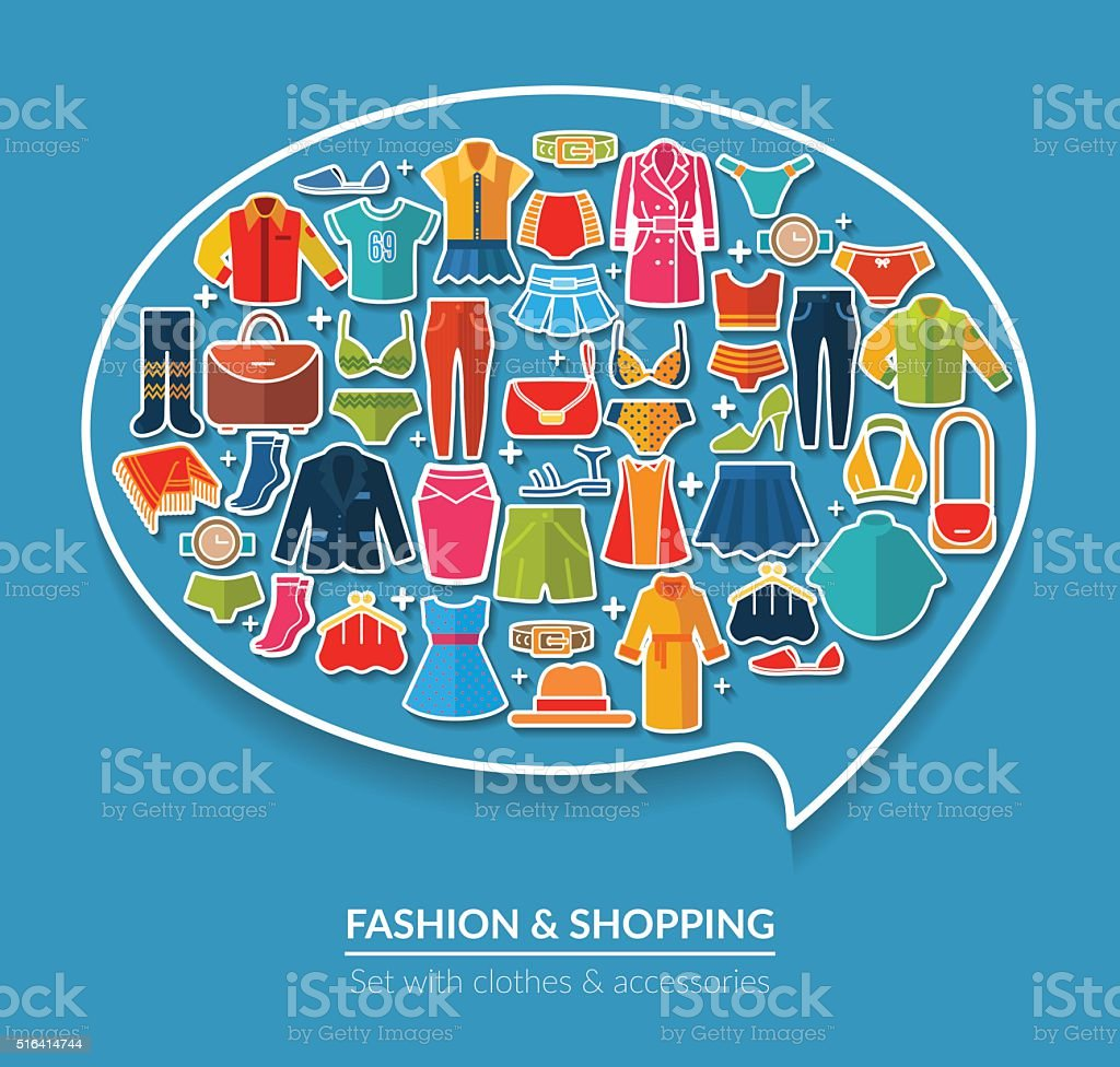 Thought bubble concept with different kind of clothes and accessories vector art illustration