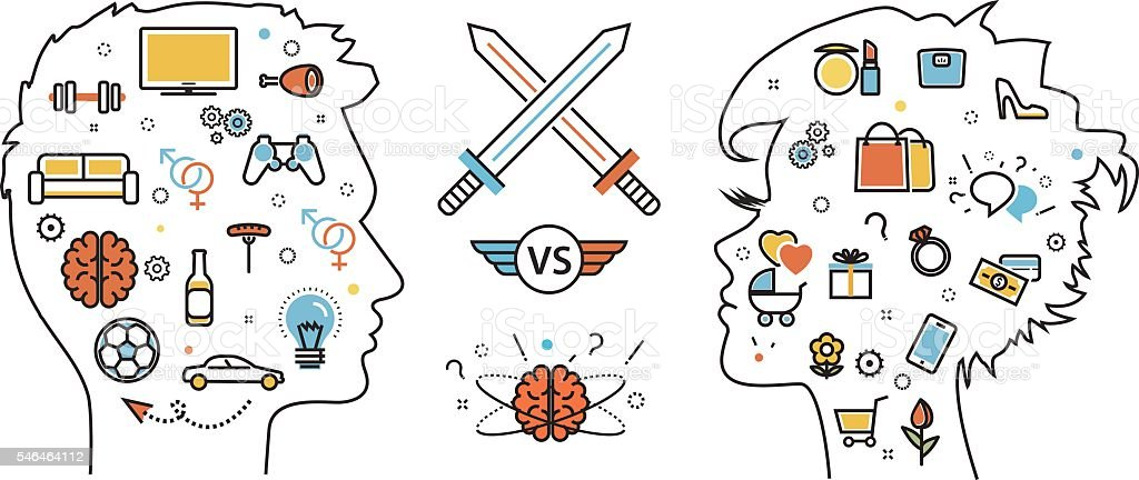 Thought opposition woman favorite interests versus man favorite vector art illustration