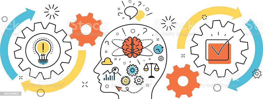 Thought process business startup idea mechanism into man brain banner vector art illustration