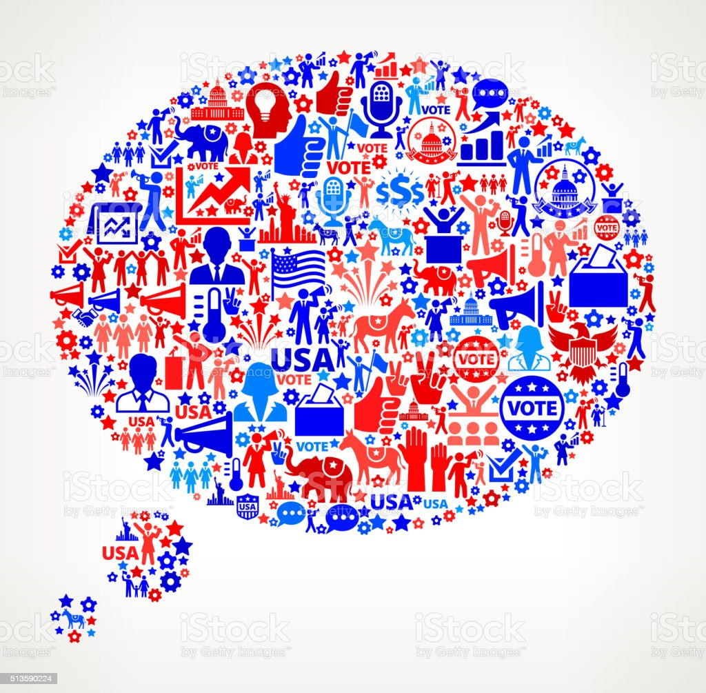 Thought Vote and Elections USA Patriotic Icon Pattern vector art illustration