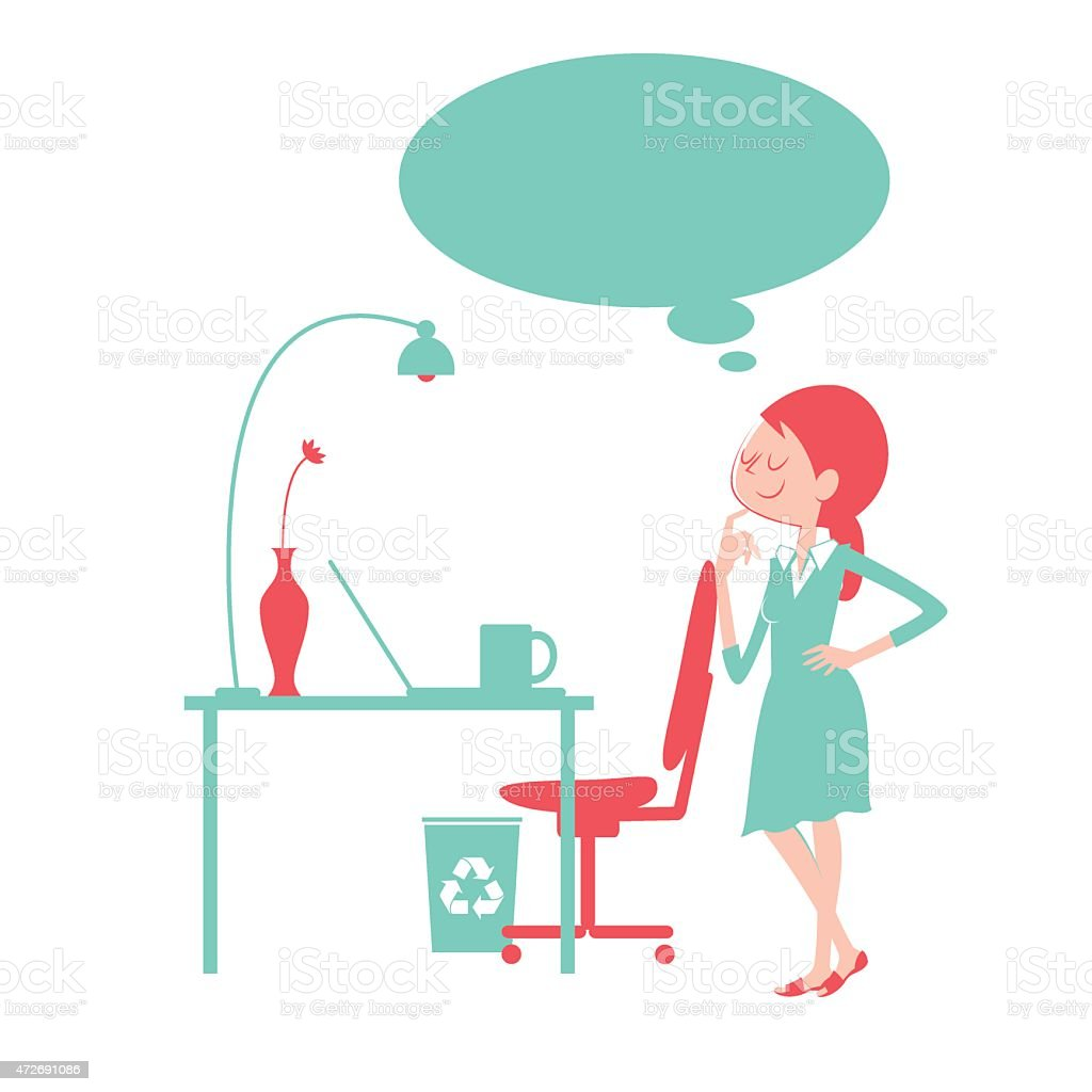 Thoughtful businesswoman with finger on chin in the office vector art illustration