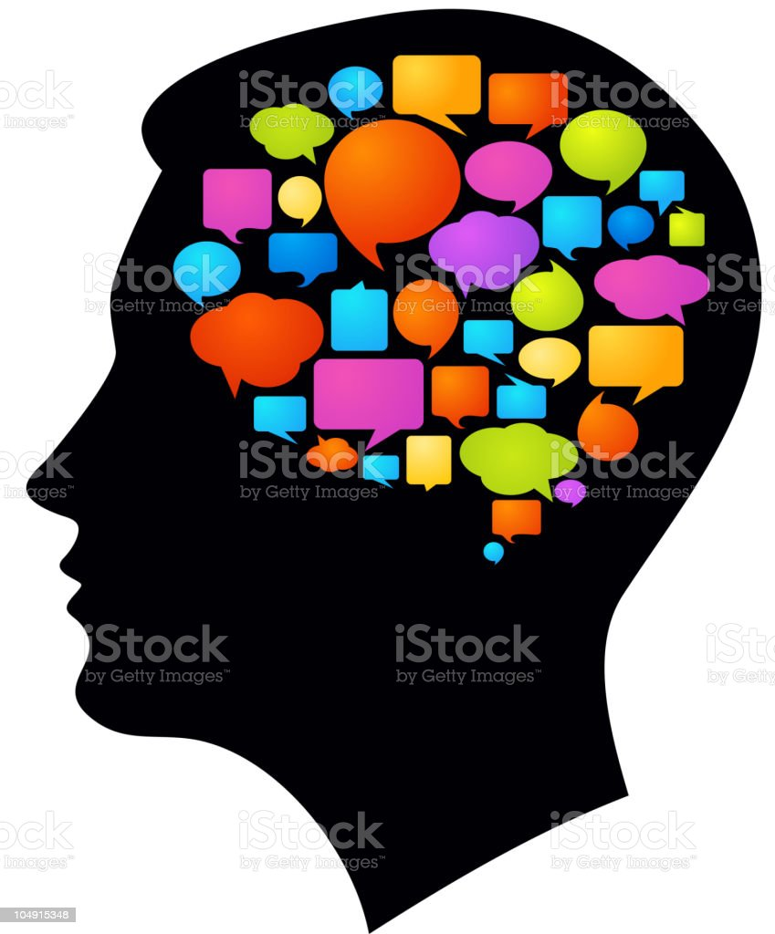 Thoughts and ideas vector art illustration