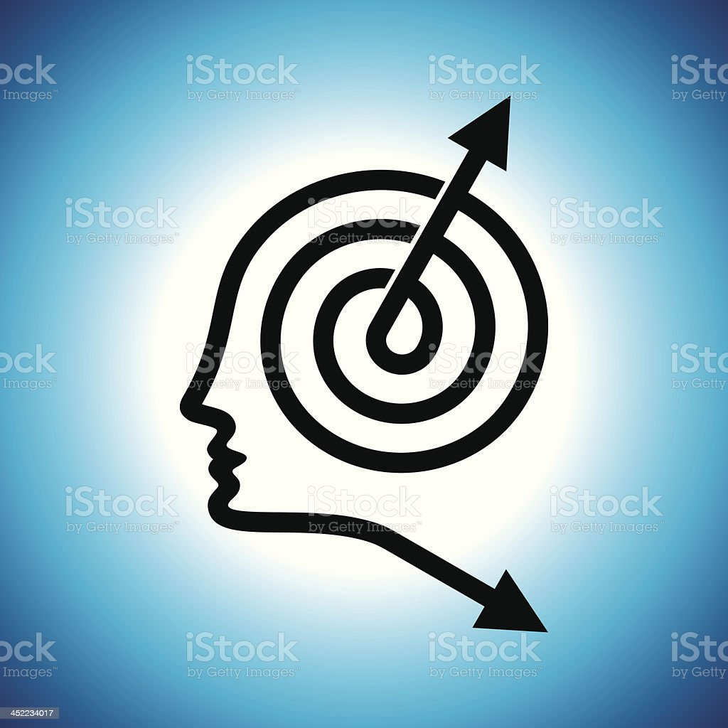 Thoughts and options  head with arrows royalty-free stock vector art