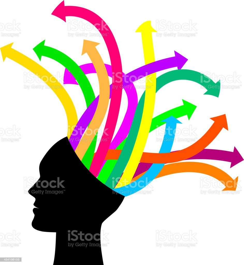 Thoughts and options - head with arrows royalty-free stock vector art