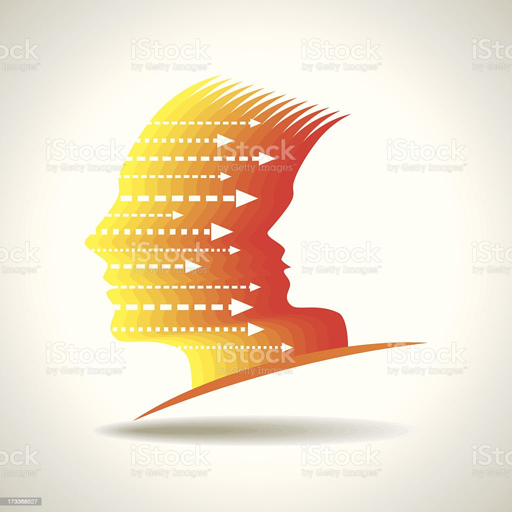 Thoughts and options  vector illustration of head royalty-free stock vector art