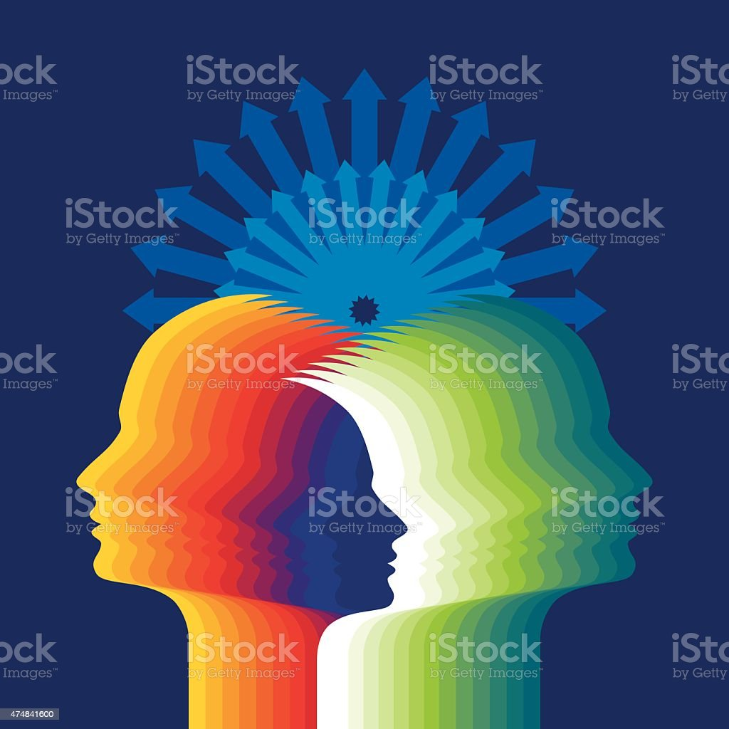 Thoughts and options. vector illustration of head with arrows vector art illustration