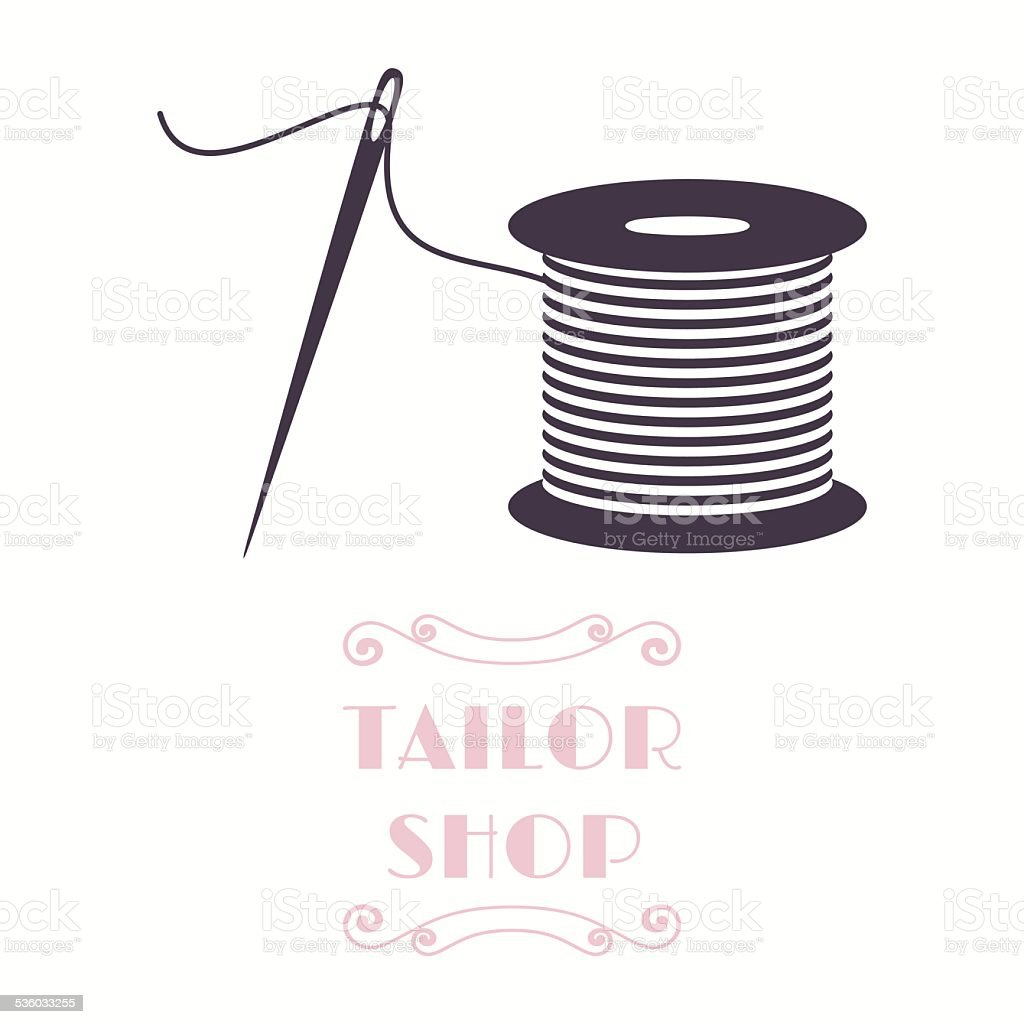 Thread spool and needle icon vector art illustration