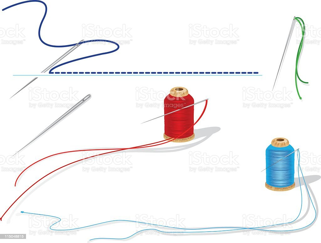 Threaded sewing needles with two spools and line of stitching vector art illustration