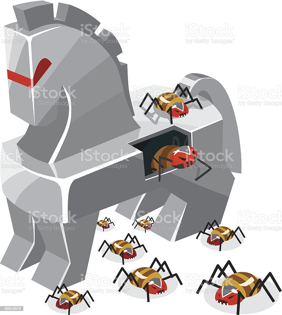 Threat of Trojan Virus vector art illustration