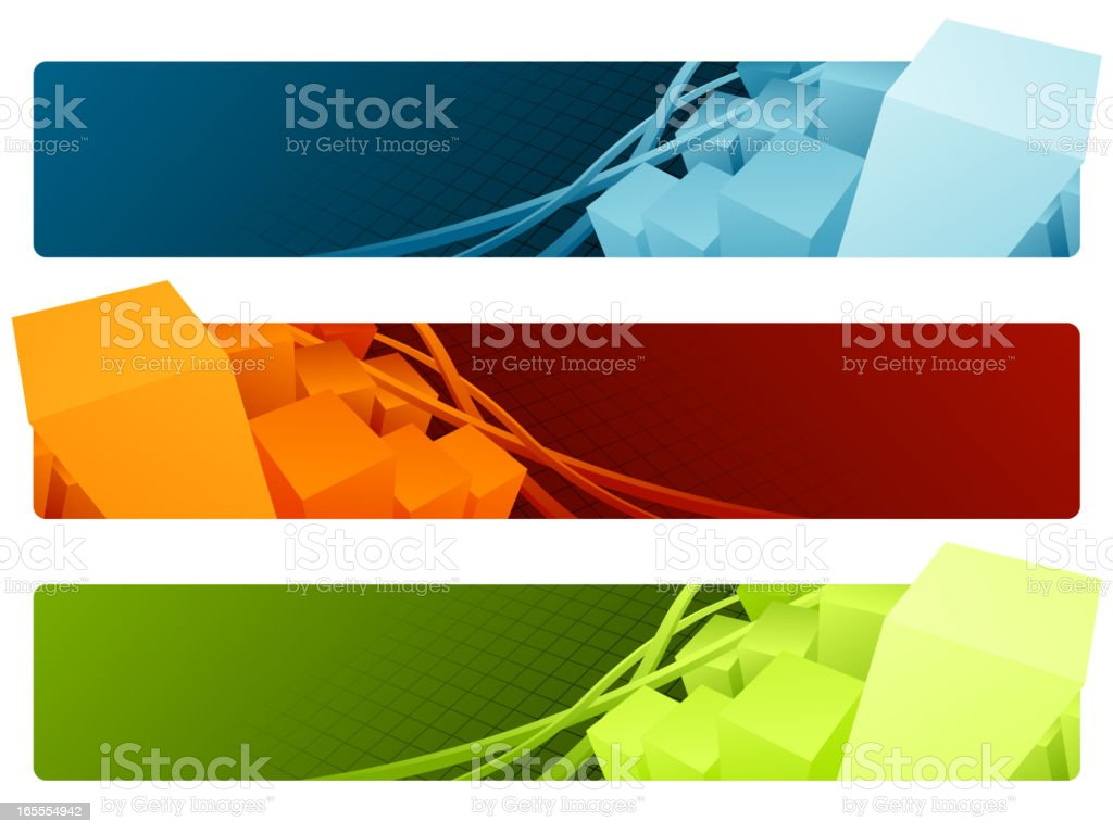 Three 3D banners in blue, orange, and green royalty-free stock vector art