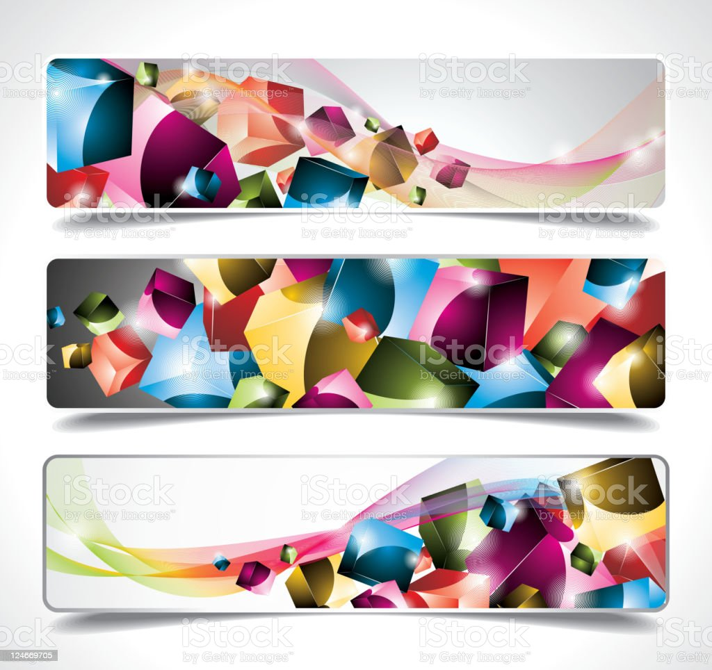 Three abstract banner background. royalty-free stock vector art