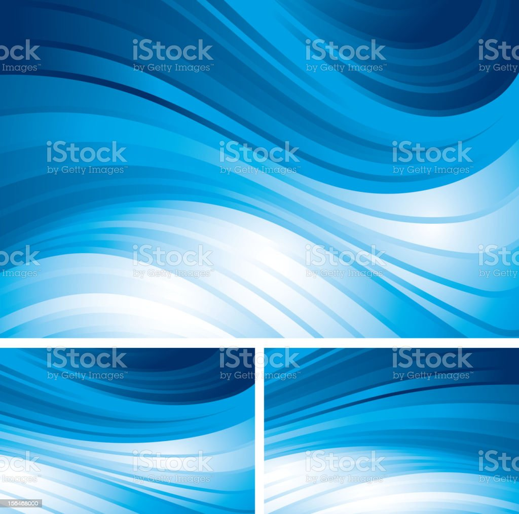 Three abstract blue swirl backgrounds vector art illustration