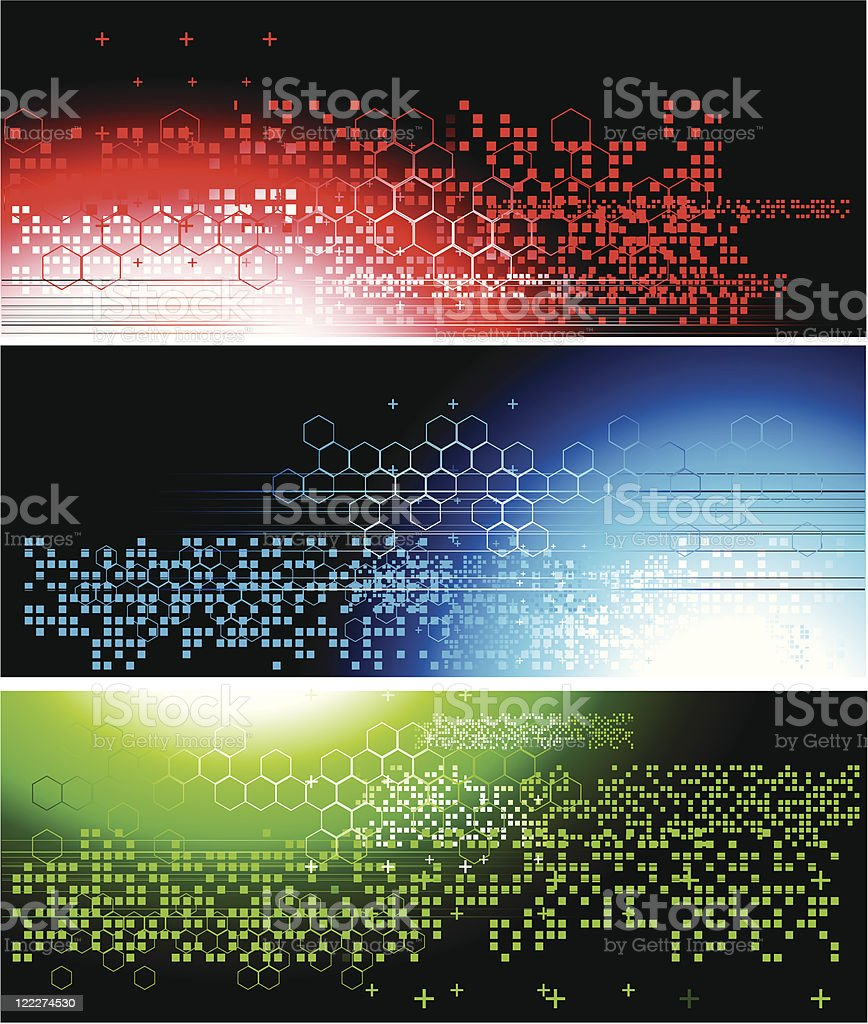 Three abstract colourful technical banners royalty-free stock vector art