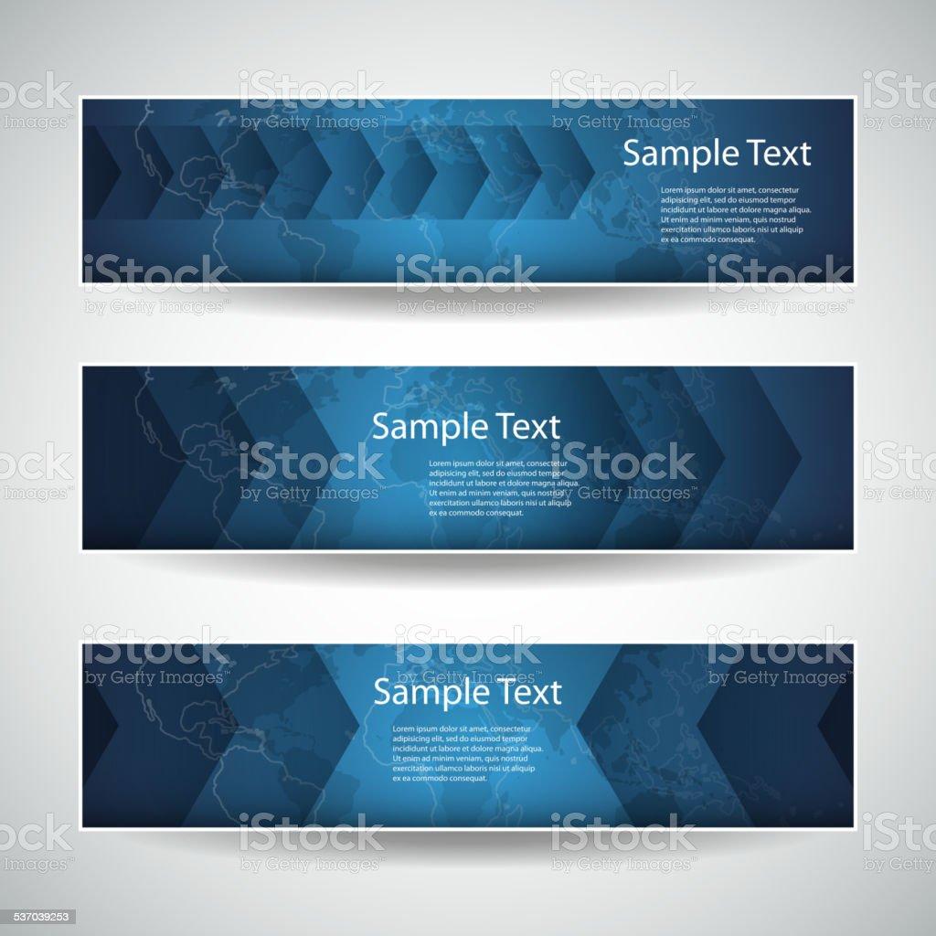 Three Abstract Header Designs - Arrows vector art illustration