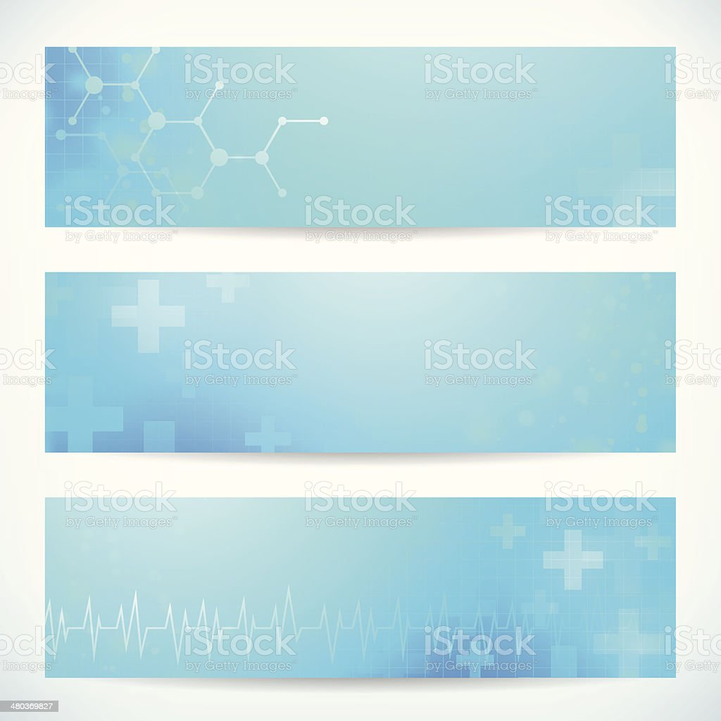 three abstract medical technology banner background for web or print vector art illustration