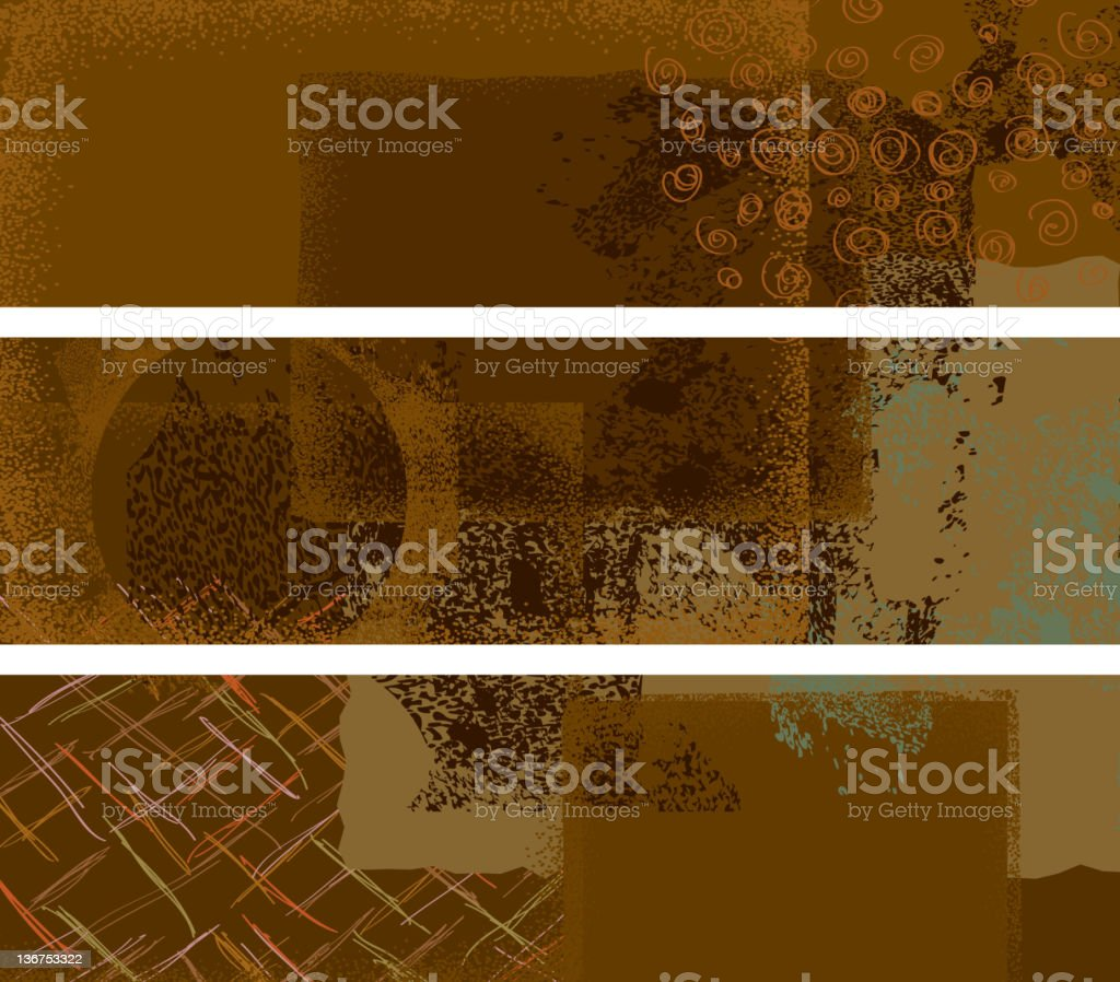 Three abstract textured banners vector art illustration