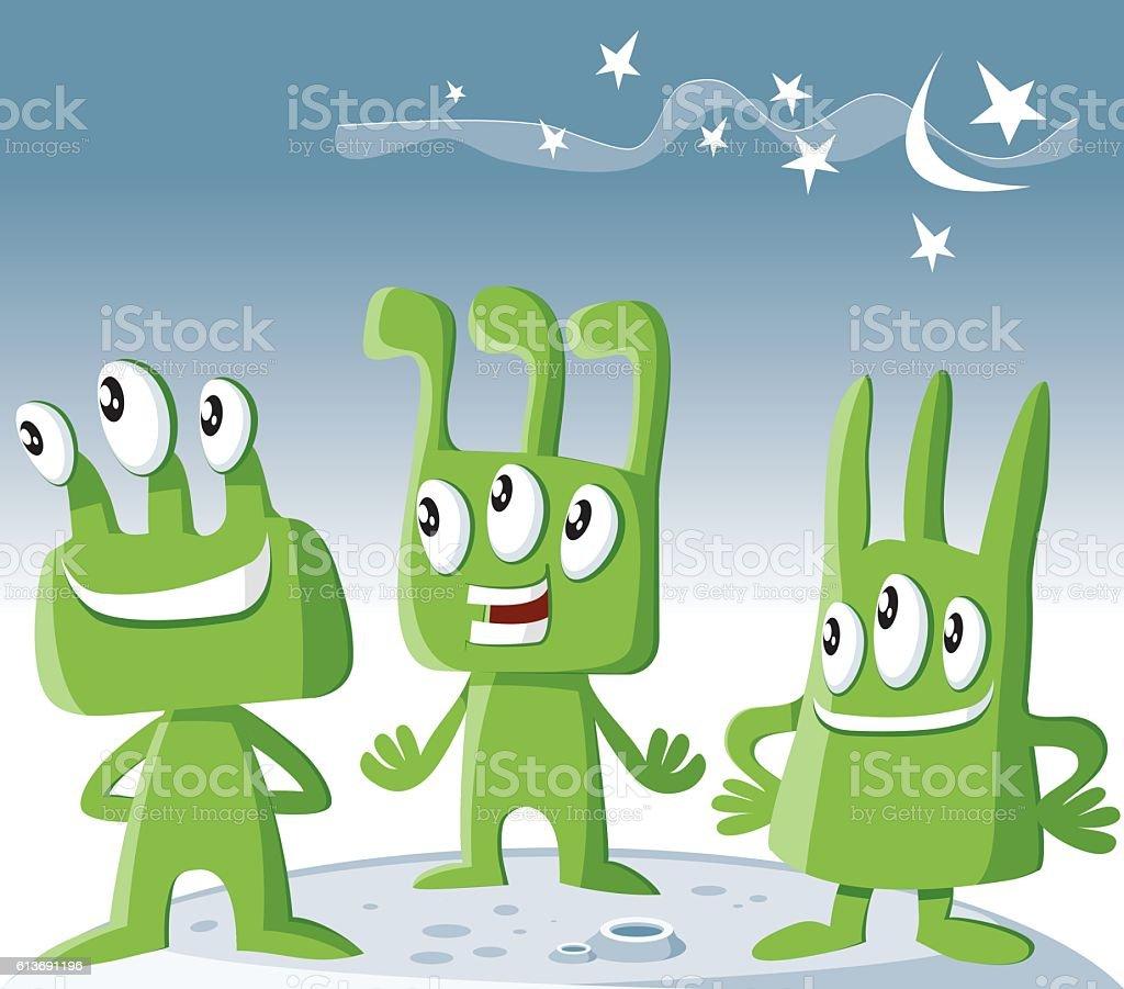 Three aliens vector art illustration