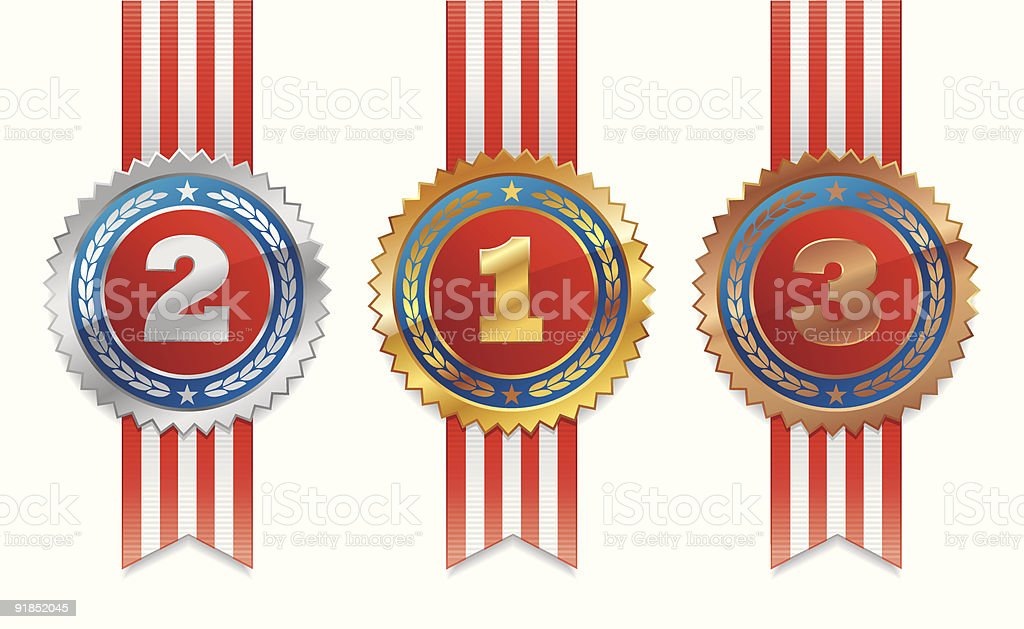 Three americans medals - gold, silver and bronze royalty-free stock vector art