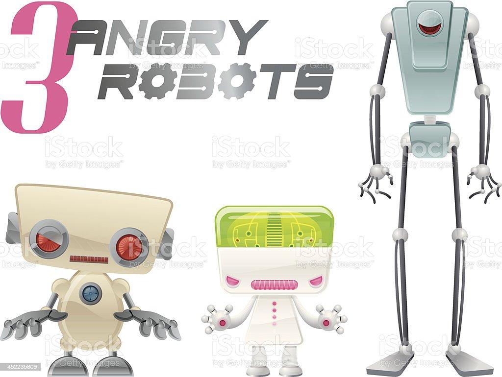 Three Angry Robots royalty-free stock vector art