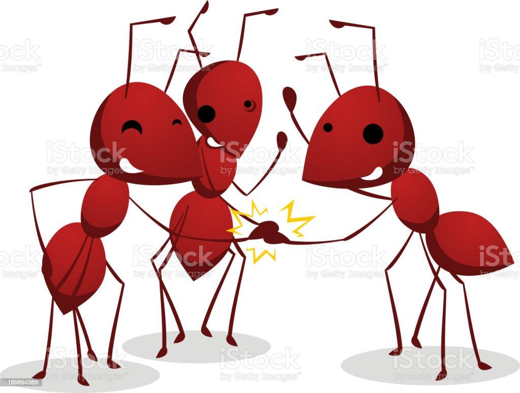 Three Ants team shaking teamwork hands vector art illustration