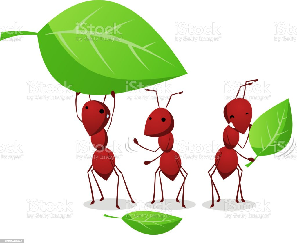 Three Ants working and carrying leafs to the anthill vector art illustration