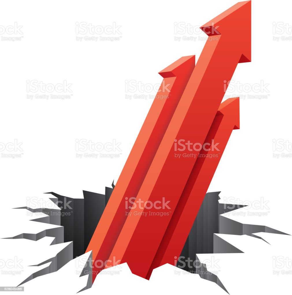 Three arrows rise up vector art illustration