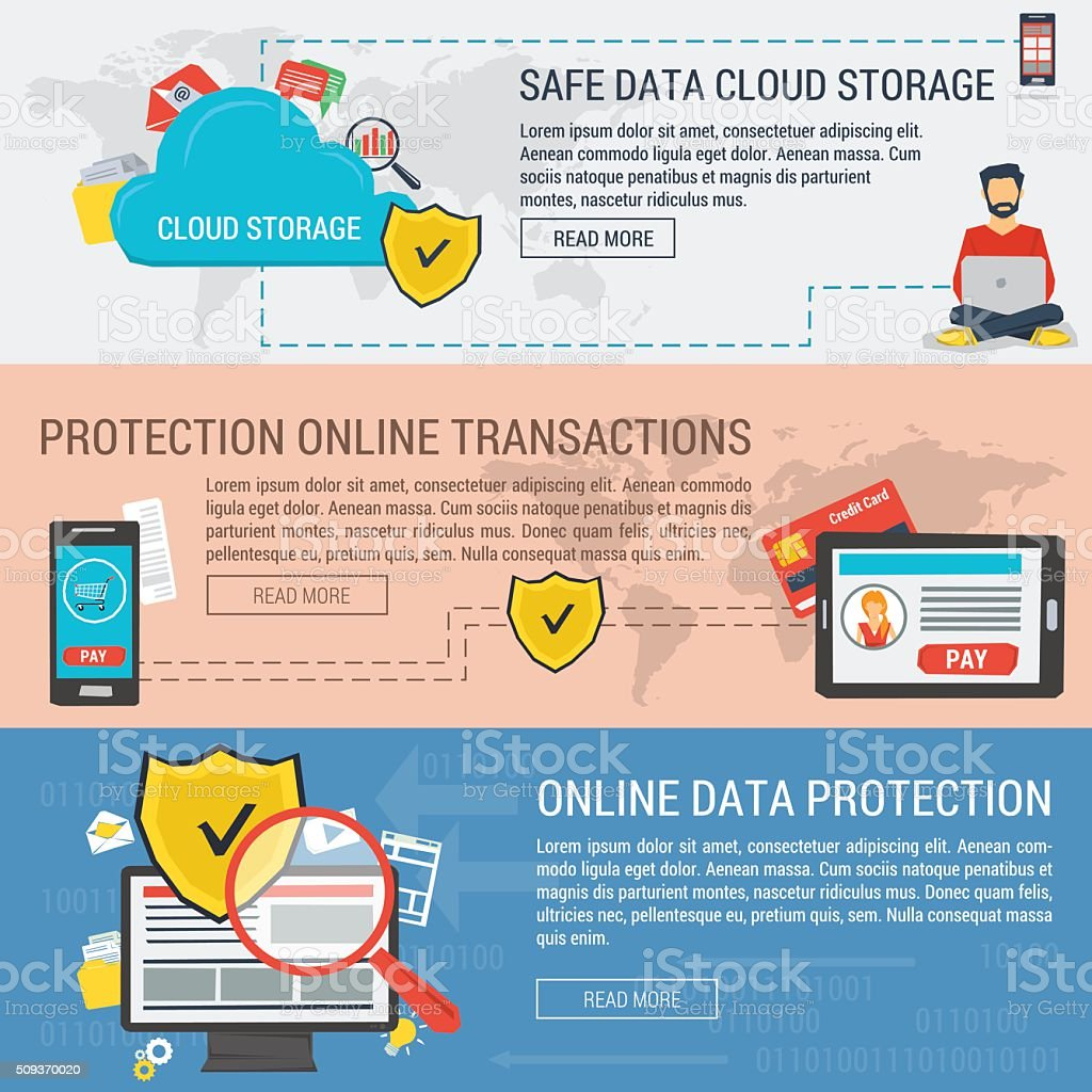 Three banners data protection vector art illustration