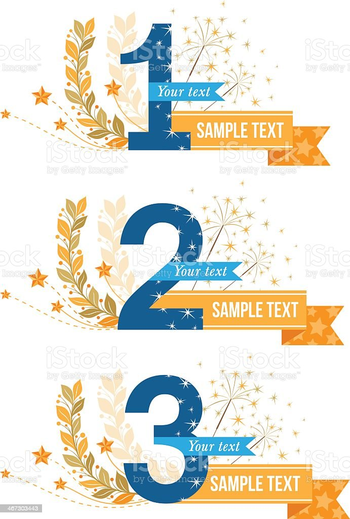 Three banners for awards in blue and orange vector art illustration