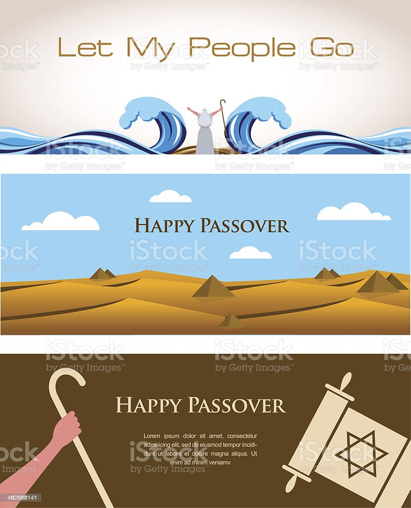 Three Banners of Passover Jewish Holiday vector art illustration