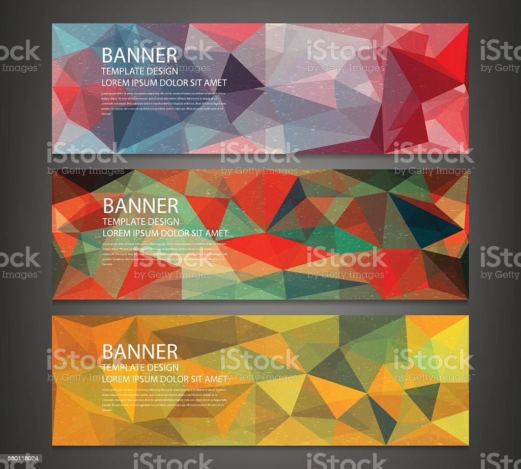 Three banners with abstract multicolored polygonal mosaic background. royalty-free stock vector art