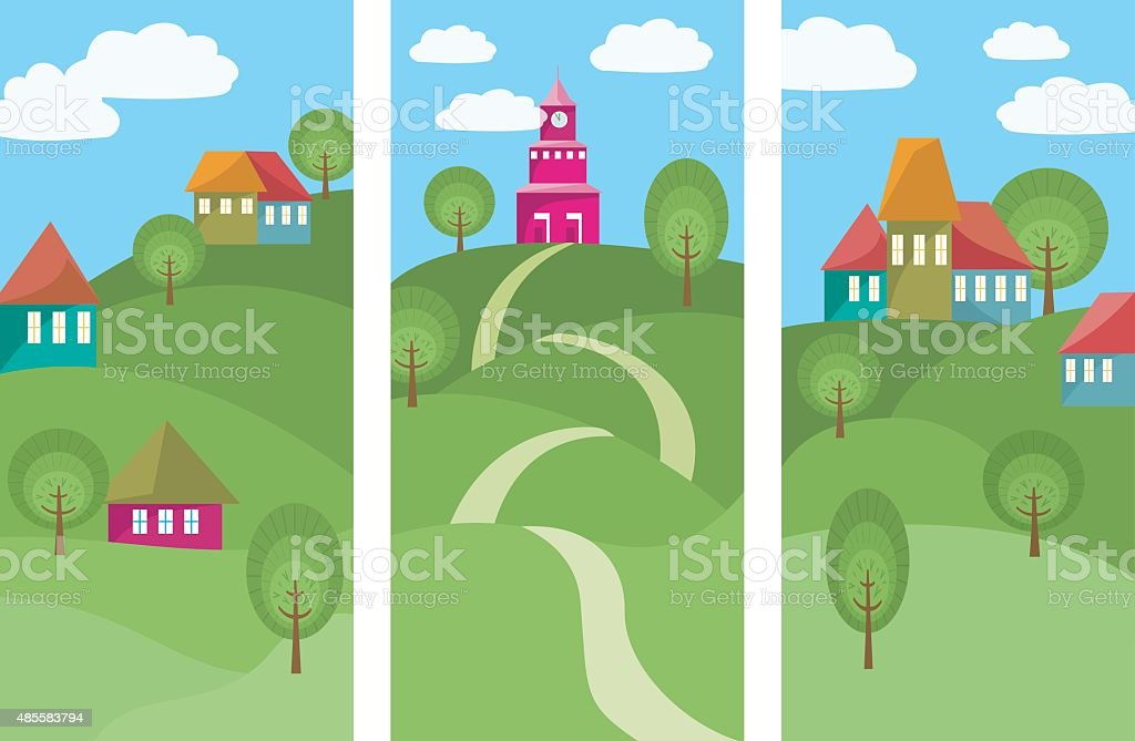 Three Banners With Colorful Small Town vector art illustration